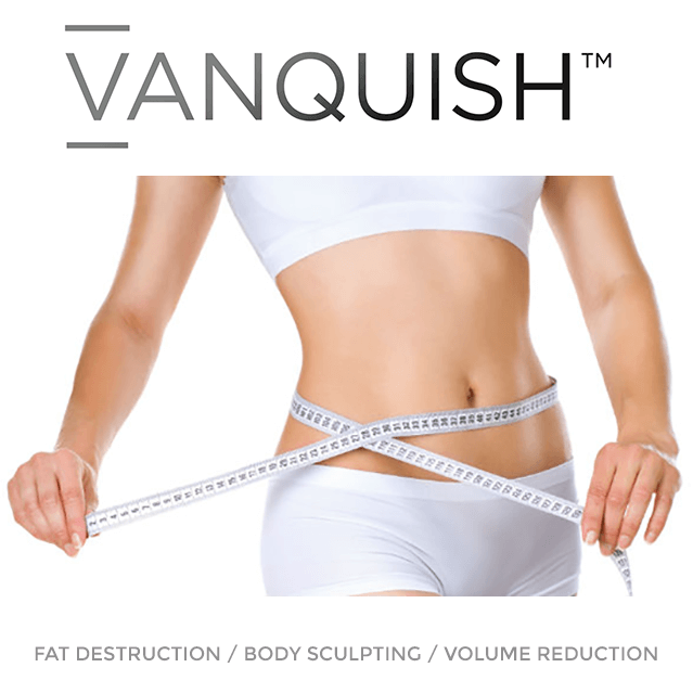 Image of woman using measuring tape to show how thin she has become using Vanquish